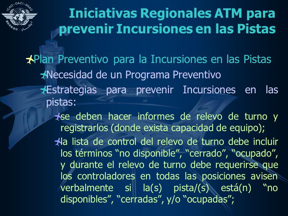 Iniciativas Regionales ATM para prevenir Incursiones en las Pistas Plan Preventivo para la Incursiones en las Pistas Necesidad de un Programa Preventi