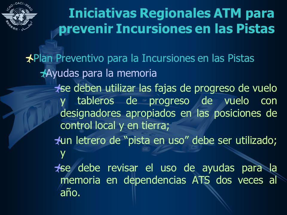 Iniciativas Regionales ATM para prevenir Incursiones en las Pistas Plan Preventivo para la Incursiones en las Pistas Ayudas para la memoria se deben u