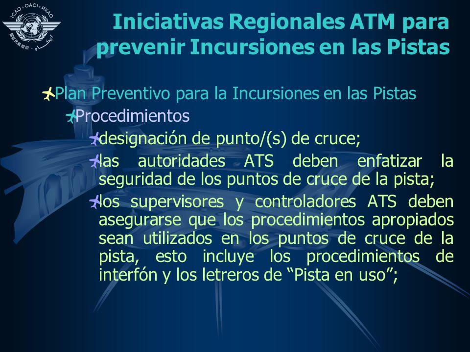 Iniciativas Regionales ATM para prevenir Incursiones en las Pistas Plan Preventivo para la Incursiones en las Pistas Procedimientos designación de pun
