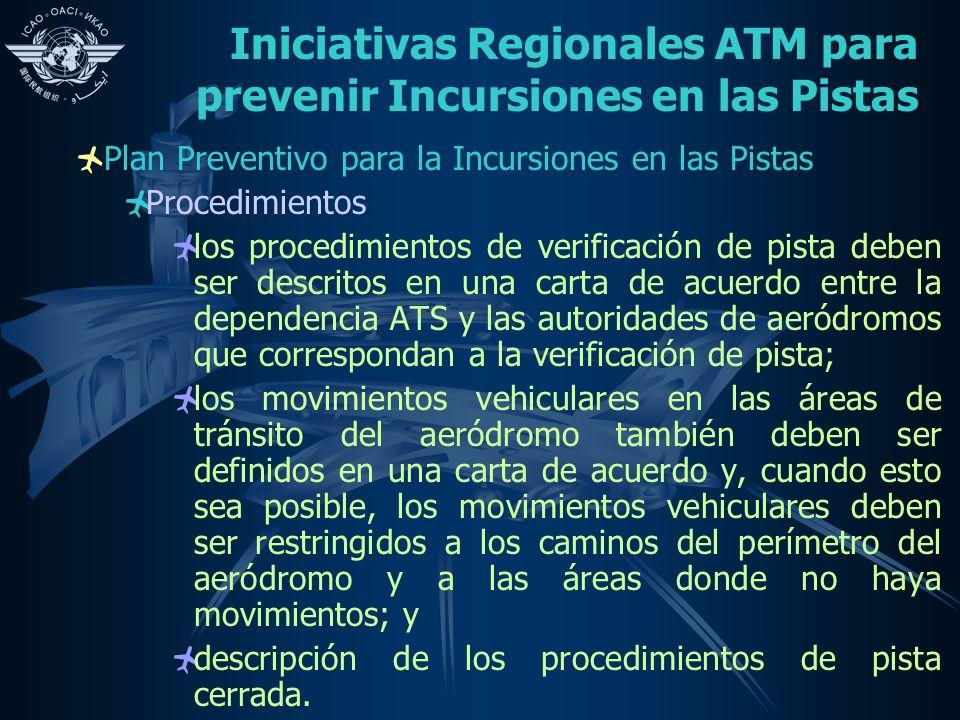 Iniciativas Regionales ATM para prevenir Incursiones en las Pistas Plan Preventivo para la Incursiones en las Pistas Procedimientos los procedimientos