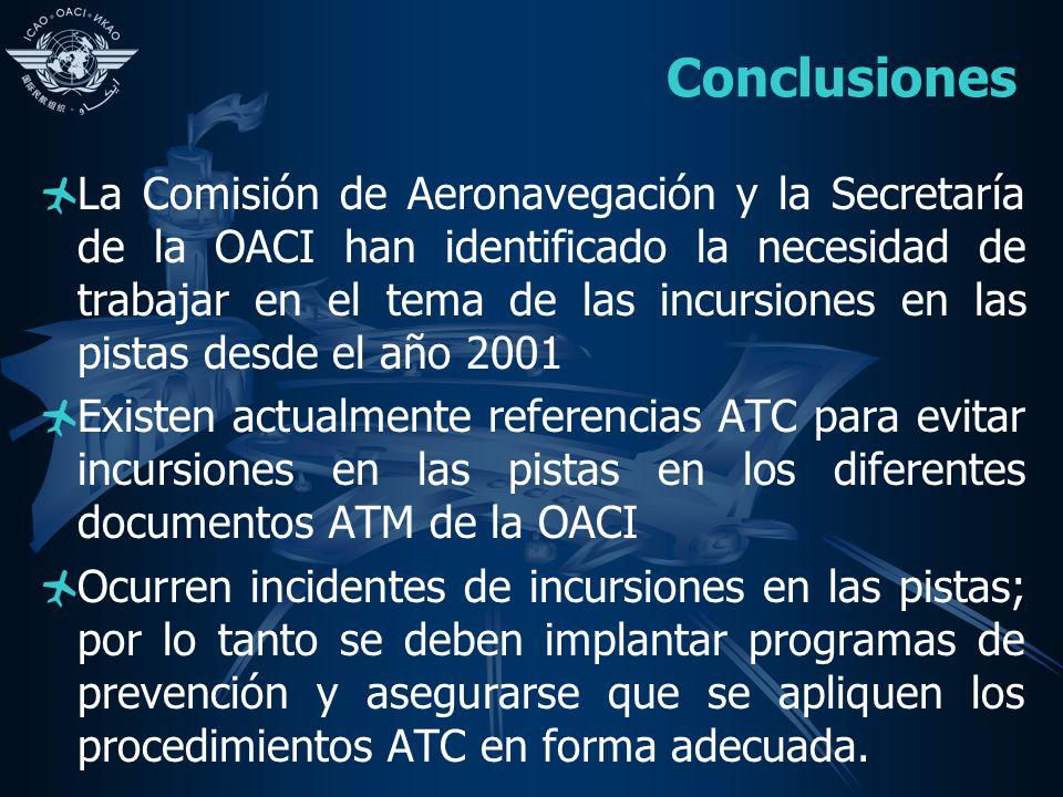 Conclusiones La Comisión de Aeronavegación y la Secretaría de la OACI han identificado la necesidad de trabajar en el tema de las incursiones en las p