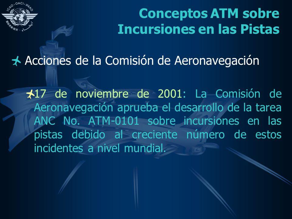 Conceptos ATM sobre Incursiones en las Pistas Acciones de la Comisión de Aeronavegación 17 de noviembre de 2001: La Comisión de Aeronavegación aprueba el desarrollo de la tarea ANC No.