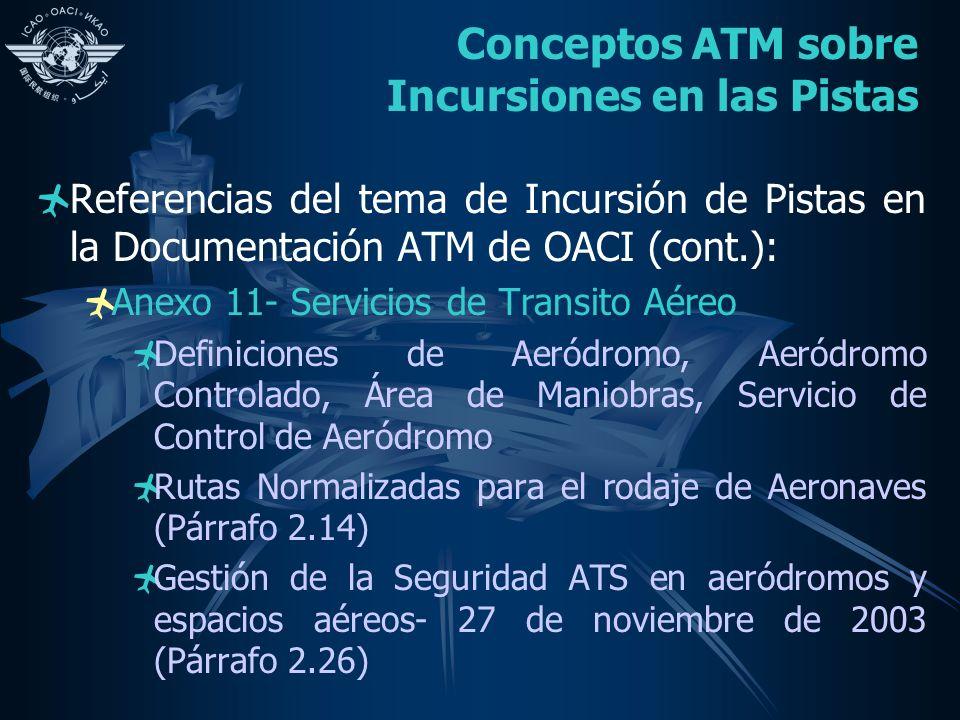 Conceptos ATM sobre Incursiones en las Pistas Referencias del tema de Incursión de Pistas en la Documentación ATM de OACI (cont.): Anexo 11- Servicios de Transito Aéreo Definiciones de Aeródromo, Aeródromo Controlado, Área de Maniobras, Servicio de Control de Aeródromo Rutas Normalizadas para el rodaje de Aeronaves (Párrafo 2.14) Gestión de la Seguridad ATS en aeródromos y espacios aéreos- 27 de noviembre de 2003 (Párrafo 2.26)
