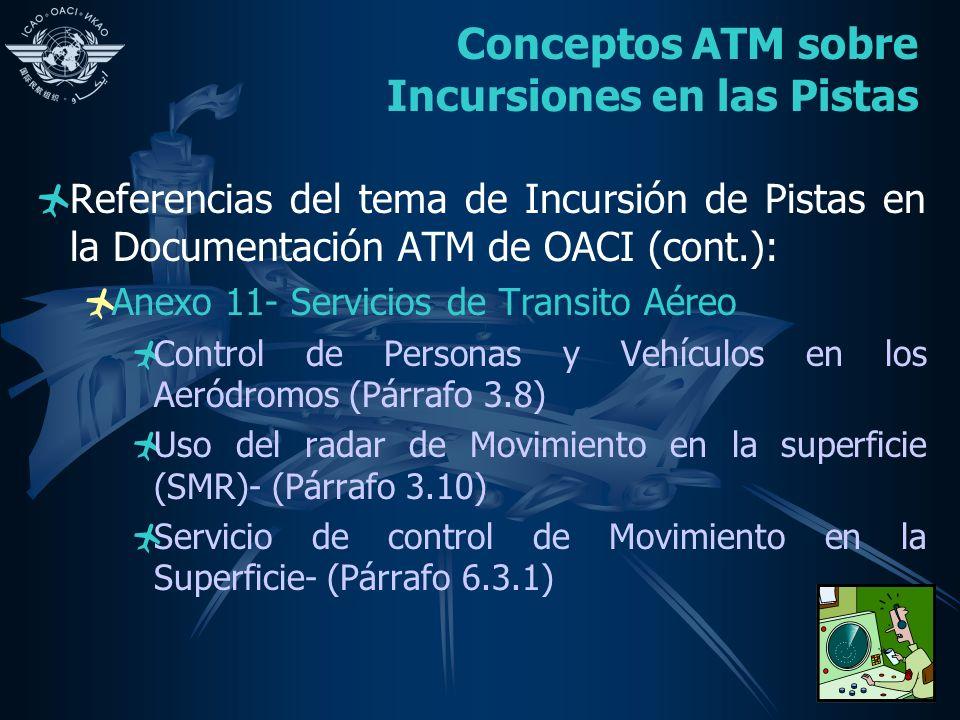 Conceptos ATM sobre Incursiones en las Pistas Referencias del tema de Incursión de Pistas en la Documentación ATM de OACI (cont.): Anexo 11- Servicios de Transito Aéreo Control de Personas y Vehículos en los Aeródromos (Párrafo 3.8) Uso del radar de Movimiento en la superficie (SMR)- (Párrafo 3.10) Servicio de control de Movimiento en la Superficie- (Párrafo 6.3.1)