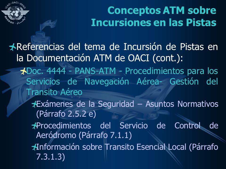 Conceptos ATM sobre Incursiones en las Pistas Referencias del tema de Incursión de Pistas en la Documentación ATM de OACI (cont.): Doc. 4444 - PANS-AT
