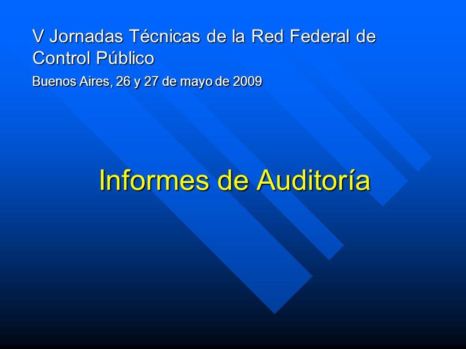 V Jornadas Técnicas de la Red Federal de Control Público Buenos Aires, 26 y 27 de mayo de 2009 Informes de Auditoría