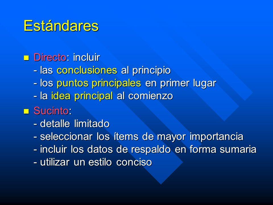 Estándares Directo: incluir - las conclusiones al principio - los puntos principales en primer lugar - la idea principal al comienzo Directo: incluir - las conclusiones al principio - los puntos principales en primer lugar - la idea principal al comienzo Sucinto: - detalle limitado - seleccionar los ítems de mayor importancia - incluir los datos de respaldo en forma sumaria - utilizar un estilo conciso Sucinto: - detalle limitado - seleccionar los ítems de mayor importancia - incluir los datos de respaldo en forma sumaria - utilizar un estilo conciso