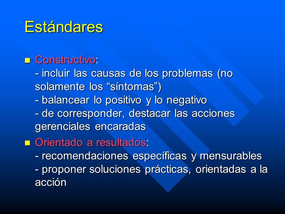 Estándares Constructivo: - incluir las causas de los problemas (no solamente los síntomas) - balancear lo positivo y lo negativo - de corresponder, destacar las acciones gerenciales encaradas Constructivo: - incluir las causas de los problemas (no solamente los síntomas) - balancear lo positivo y lo negativo - de corresponder, destacar las acciones gerenciales encaradas Orientado a resultados: - recomendaciones específicas y mensurables - proponer soluciones prácticas, orientadas a la acción Orientado a resultados: - recomendaciones específicas y mensurables - proponer soluciones prácticas, orientadas a la acción