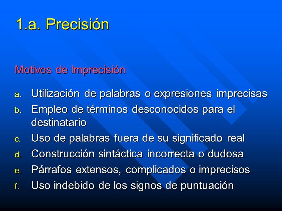 1.a. Precisión Motivos de Imprecisión a. Utilización de palabras o expresiones imprecisas b.