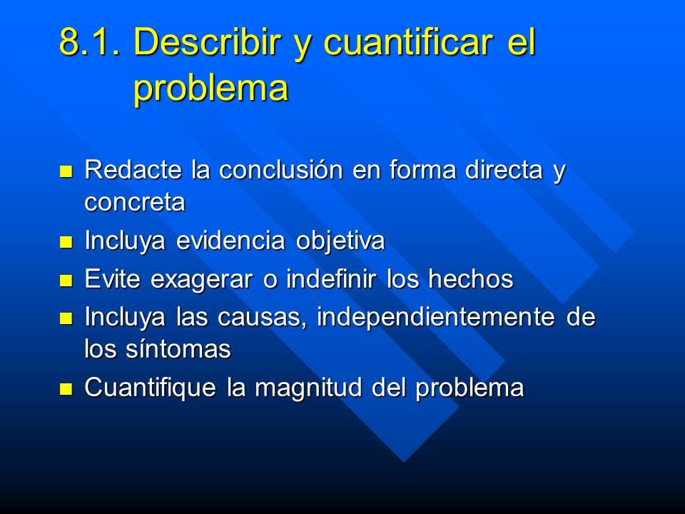 8.1. Describir y cuantificar el problema Redacte la conclusión en forma directa y concreta Redacte la conclusión en forma directa y concreta Incluya e