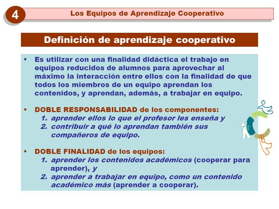 Definición de aprendizaje cooperativo Es utilizar con una finalidad didáctica el trabajo en equipos reducidos de alumnos para aprovechar al máximo la