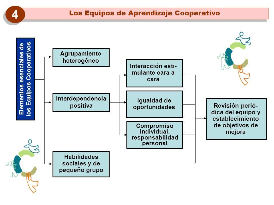 Elementos esenciales de los Equipos Cooperativos Agrupamiento heterogéneo Revisión perió- dica del equipo y establecimiento de objetivos de mejora Int