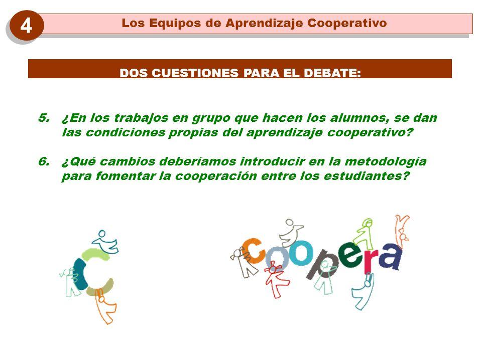 DOS CUESTIONES PARA EL DEBATE: 5. ¿En los trabajos en grupo que hacen los alumnos, se dan las condiciones propias del aprendizaje cooperativo? 6. ¿Qué