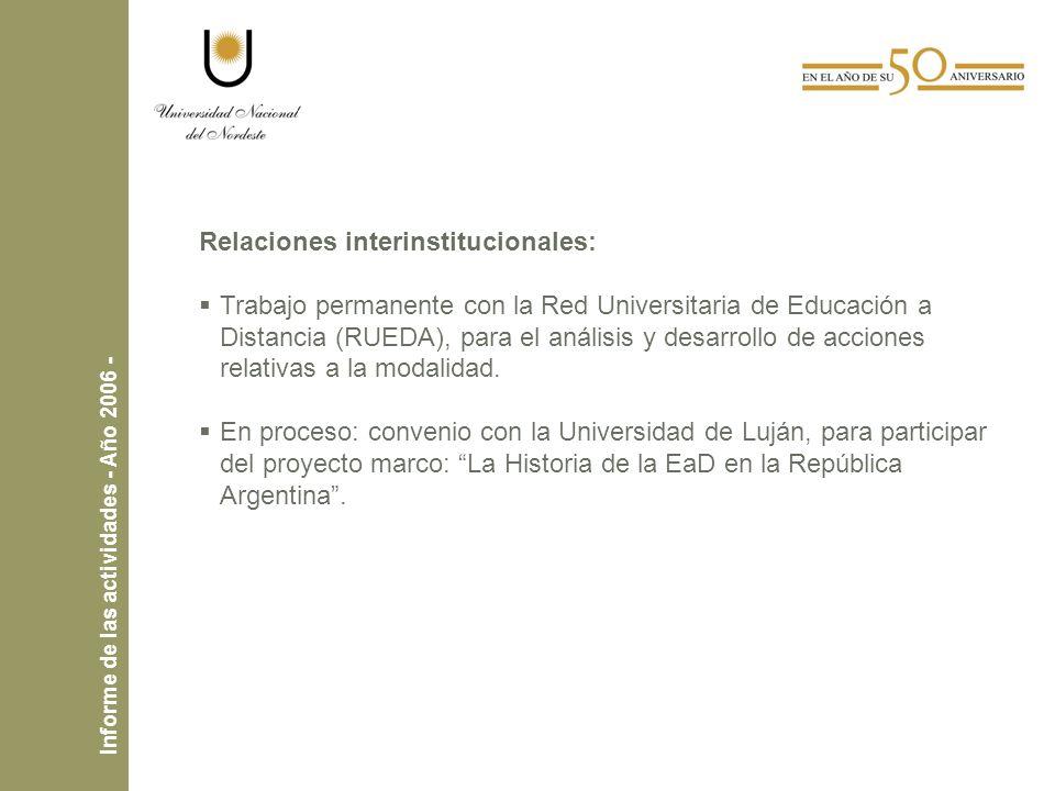 Relaciones interinstitucionales: Trabajo permanente con la Red Universitaria de Educación a Distancia (RUEDA), para el análisis y desarrollo de acciones relativas a la modalidad.