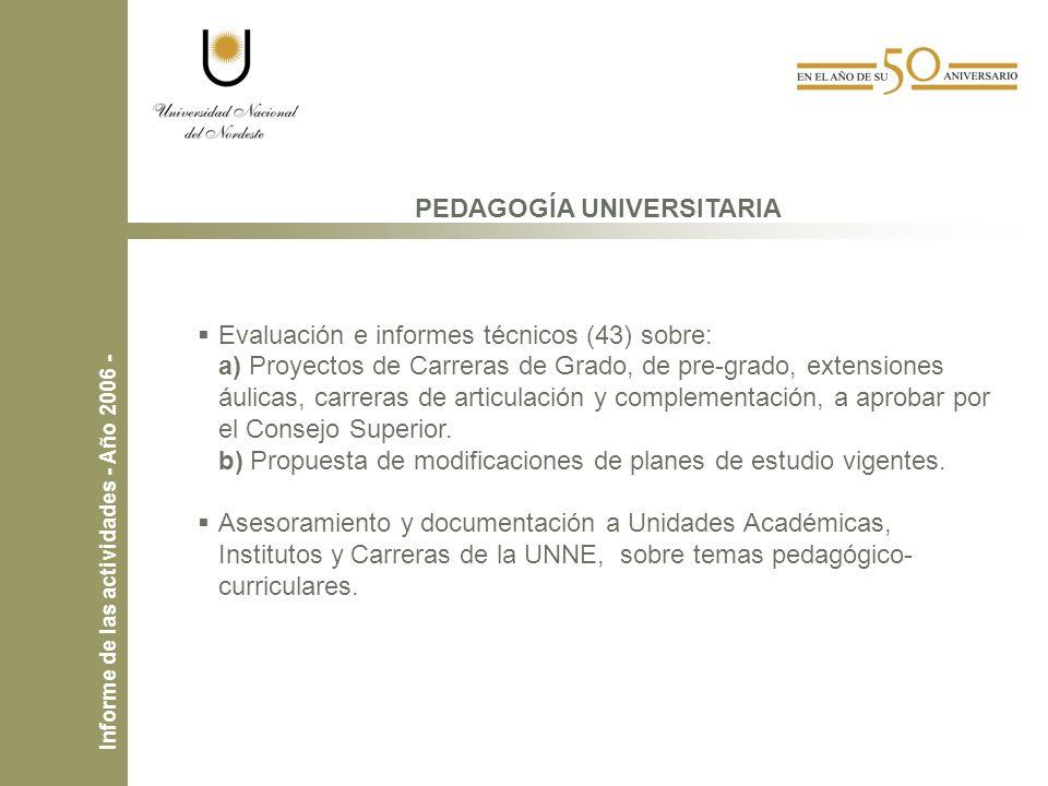 PEDAGOGÍA UNIVERSITARIA Evaluación e informes técnicos (43) sobre: a) Proyectos de Carreras de Grado, de pre-grado, extensiones áulicas, carreras de articulación y complementación, a aprobar por el Consejo Superior.