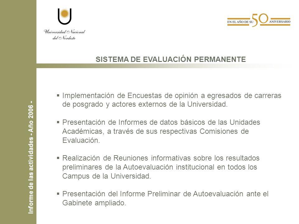 SISTEMA DE EVALUACIÓN PERMANENTE Implementación de Encuestas de opinión a egresados de carreras de posgrado y actores externos de la Universidad.