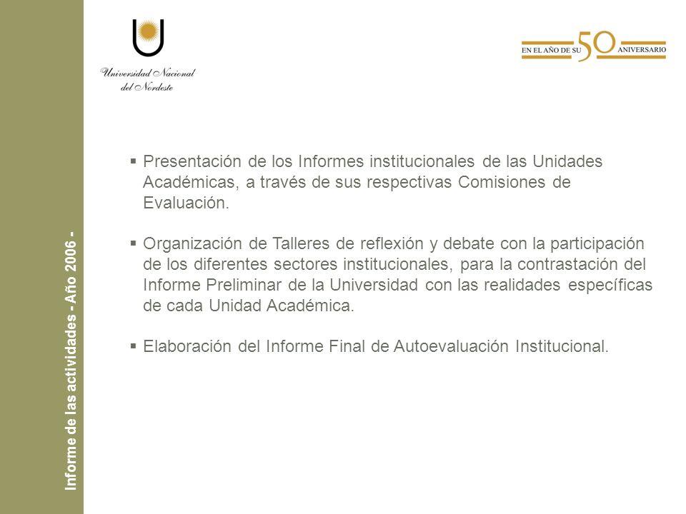Presentación de los Informes institucionales de las Unidades Académicas, a través de sus respectivas Comisiones de Evaluación.