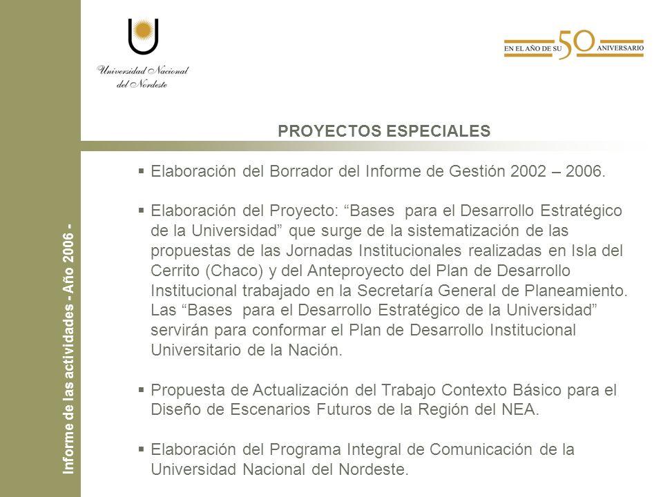 PROYECTOS ESPECIALES Elaboración del Borrador del Informe de Gestión 2002 – 2006.