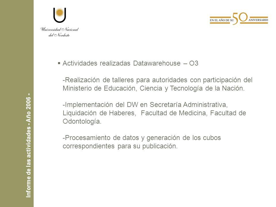 Actividades realizadas Datawarehouse – O3 -Realización de talleres para autoridades con participación del Ministerio de Educación, Ciencia y Tecnología de la Nación.