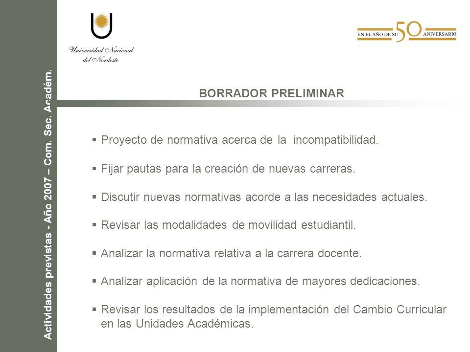 Actividades previstas - Año 2007 – Com.Sec. Académ.