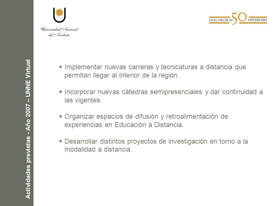 Actividades previstas - Año 2007 – UNNE Virtual Implementar nuevas carreras y tecnicaturas a distancia que permitan llegar al interior de la región.