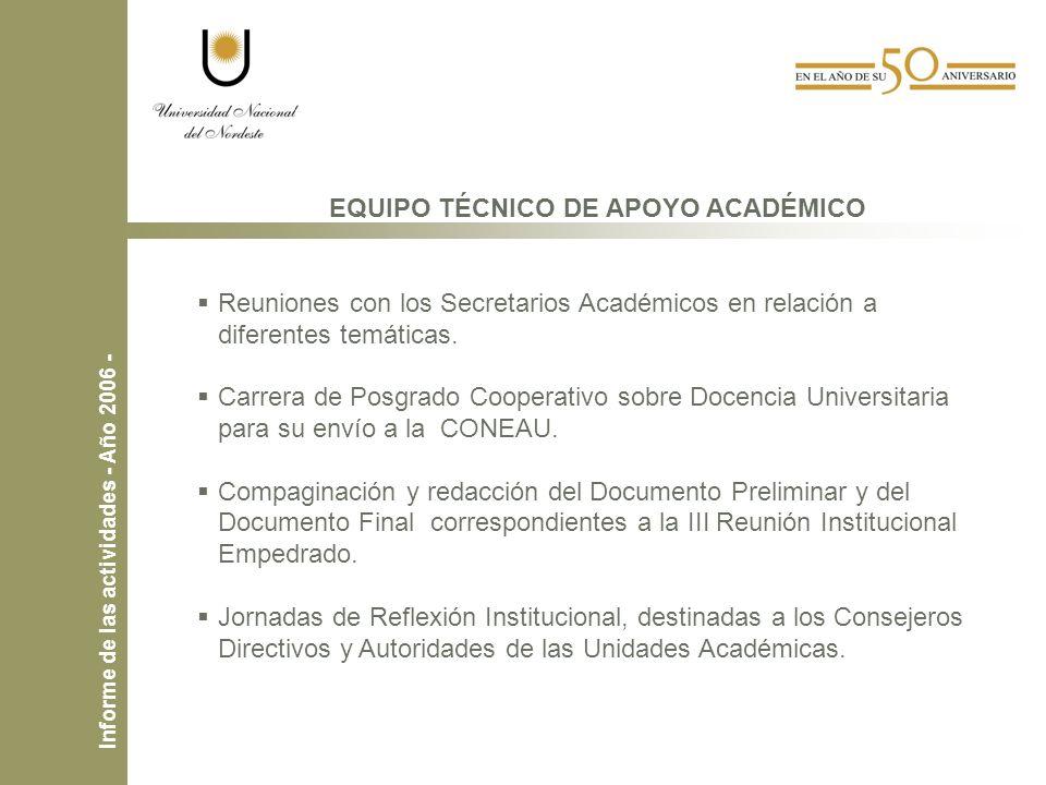 EQUIPO TÉCNICO DE APOYO ACADÉMICO Reuniones con los Secretarios Académicos en relación a diferentes temáticas.