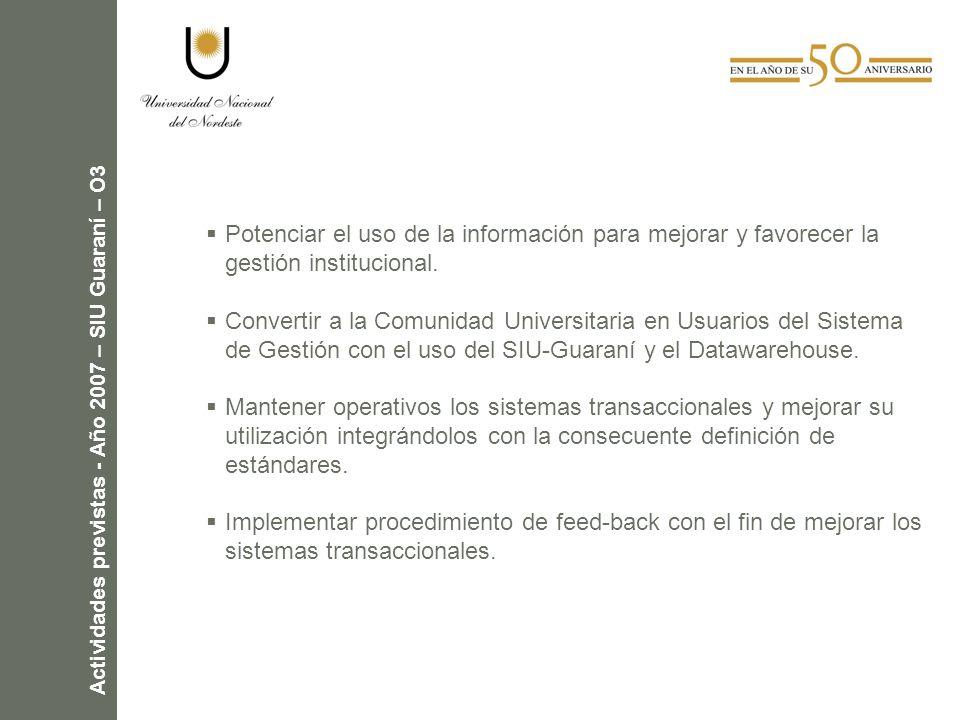 Actividades previstas - Año 2007 – SIU Guaraní – O3 Potenciar el uso de la información para mejorar y favorecer la gestión institucional.
