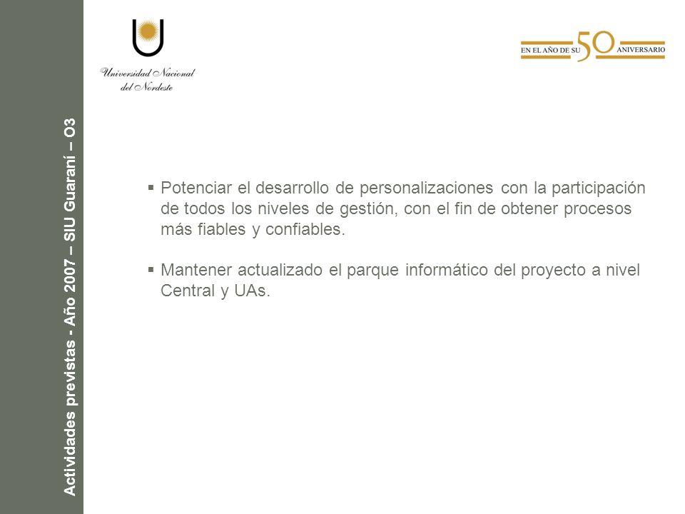 Actividades previstas - Año 2007 – SIU Guaraní – O3 Potenciar el desarrollo de personalizaciones con la participación de todos los niveles de gestión, con el fin de obtener procesos más fiables y confiables.