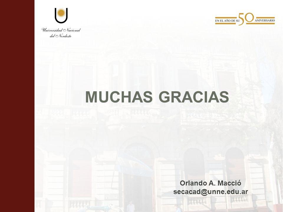 MUCHAS GRACIAS Orlando A. Macció secacad@unne.edu.ar