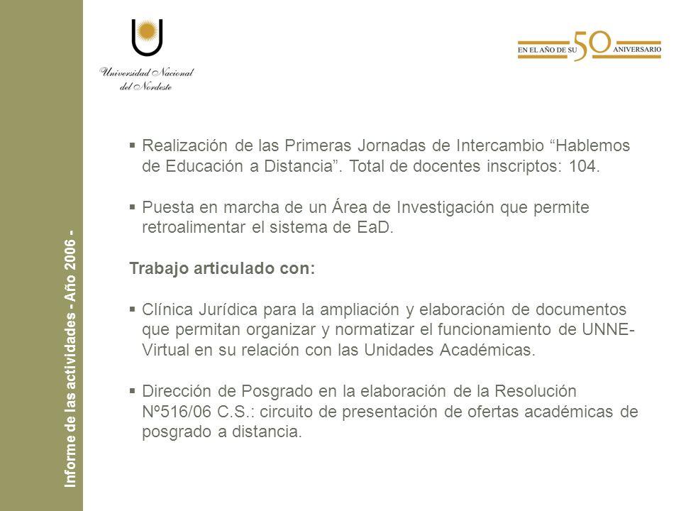 Realización de las Primeras Jornadas de Intercambio Hablemos de Educación a Distancia.