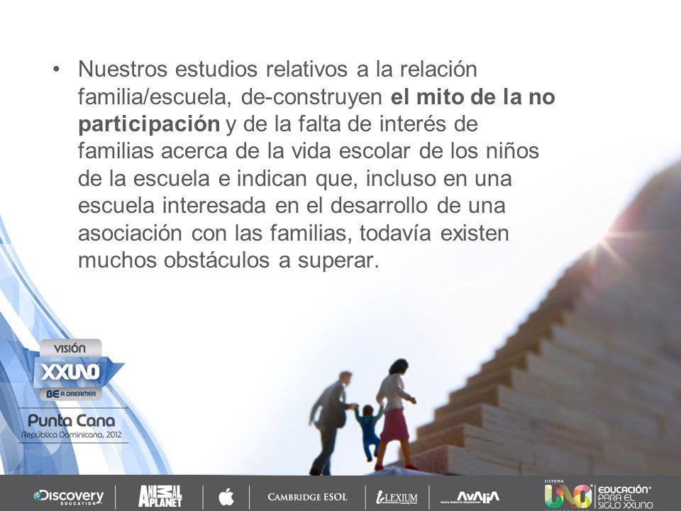 Se observó mucha dificultad por parte de la escuela para evaluar los conocimientos de las familias en relación a sus hijos, a los recursos de la comunidad en que vivían y a su capacidad de trabajo participativo.