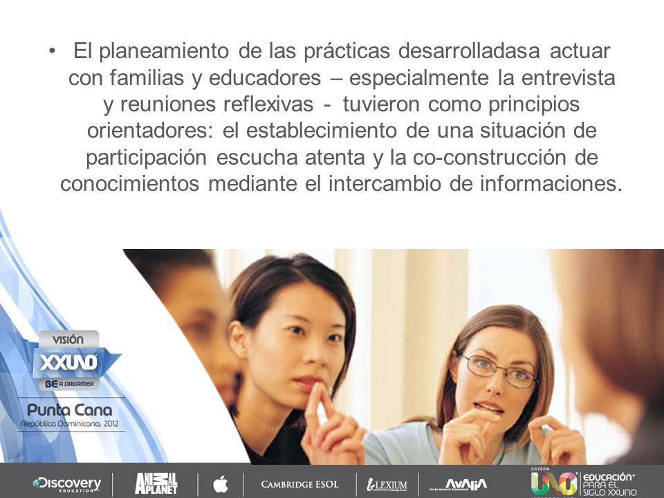 Actividades en que se hace referencia a las experiencias son fundamentales en las reuniones reflexivas y son en el punto de partida para el desarrollo de las deliberaciones posteriores, en los que las prácticas educativas son objeto de conocimiento, la reflexión y la problematización.