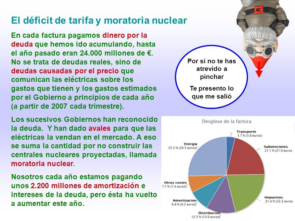 El déficit de tarifa y moratoria nuclear Por si no te has atrevido a pinchar Te presento lo que me salió En cada factura pagamos dinero por la deuda que hemos ido acumulando, hasta el año pasado eran 24.000 millones de.