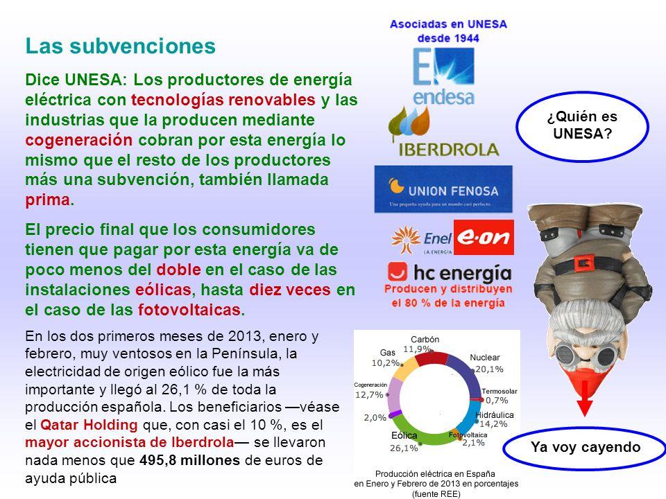 Las subvenciones Dice UNESA: Los productores de energía eléctrica con tecnologías renovables y las industrias que la producen mediante cogeneración co
