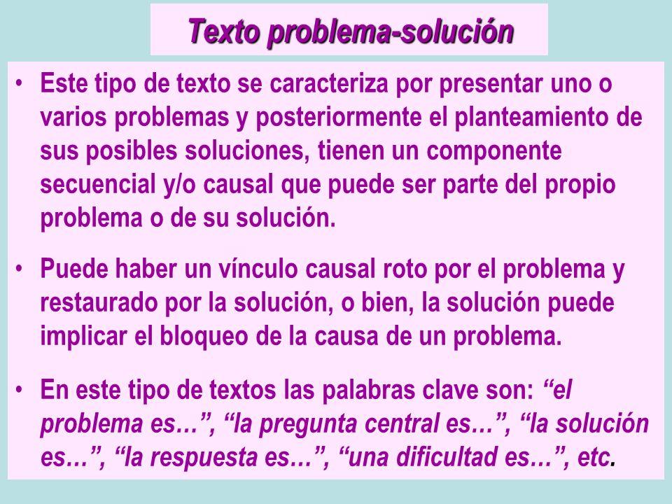 Texto problema-solución Este tipo de texto se caracteriza por presentar uno o varios problemas y posteriormente el planteamiento de sus posibles soluc