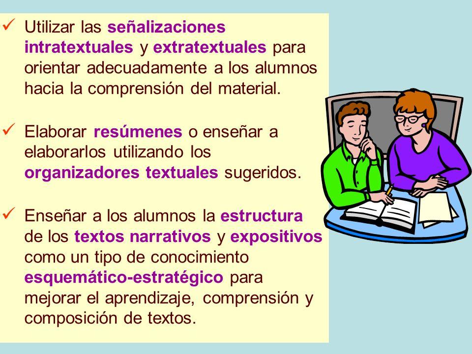 Utilizar las señalizaciones intratextuales y extratextuales para orientar adecuadamente a los alumnos hacia la comprensión del material. Elaborar resú