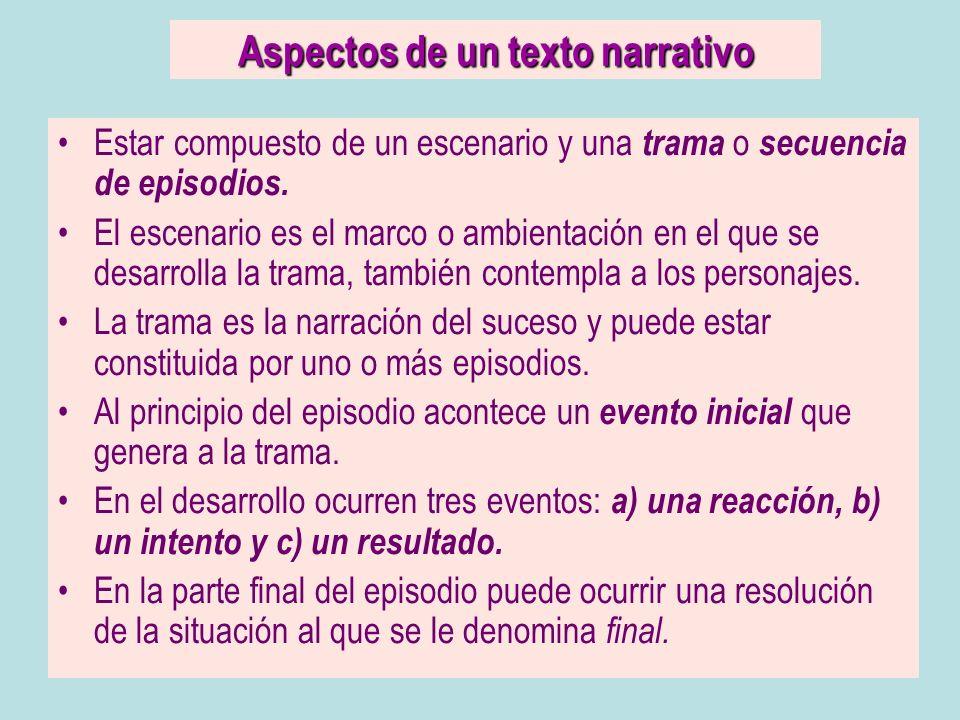 Aspectos de un texto narrativo Estar compuesto de un escenario y una trama o secuencia de episodios. El escenario es el marco o ambientación en el que