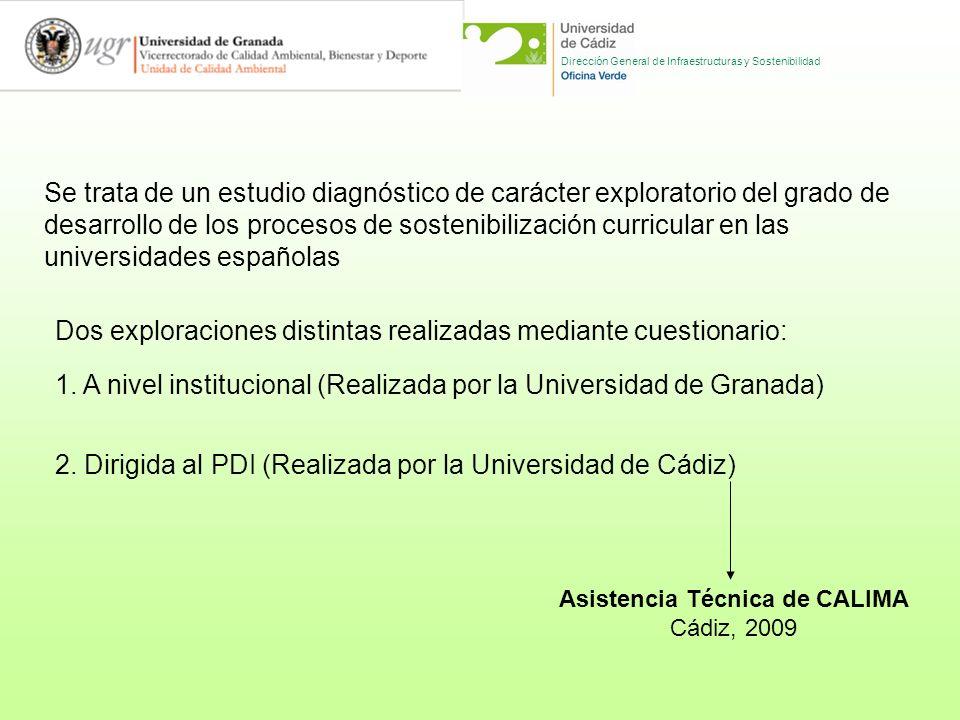 Dirección General de Infraestructuras y Sostenibilidad Se trata de un estudio diagnóstico de carácter exploratorio del grado de desarrollo de los procesos de sostenibilización curricular en las universidades españolas Dos exploraciones distintas realizadas mediante cuestionario: 1.