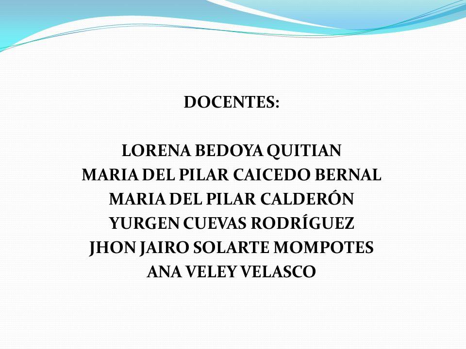 DOCENTES: LORENA BEDOYA QUITIAN MARIA DEL PILAR CAICEDO BERNAL MARIA DEL PILAR CALDERÓN YURGEN CUEVAS RODRÍGUEZ JHON JAIRO SOLARTE MOMPOTES ANA VELEY VELASCO