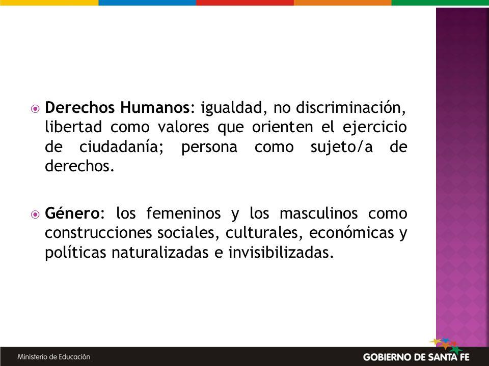 Derechos Humanos: igualdad, no discriminación, libertad como valores que orienten el ejercicio de ciudadanía; persona como sujeto/a de derechos. Géner