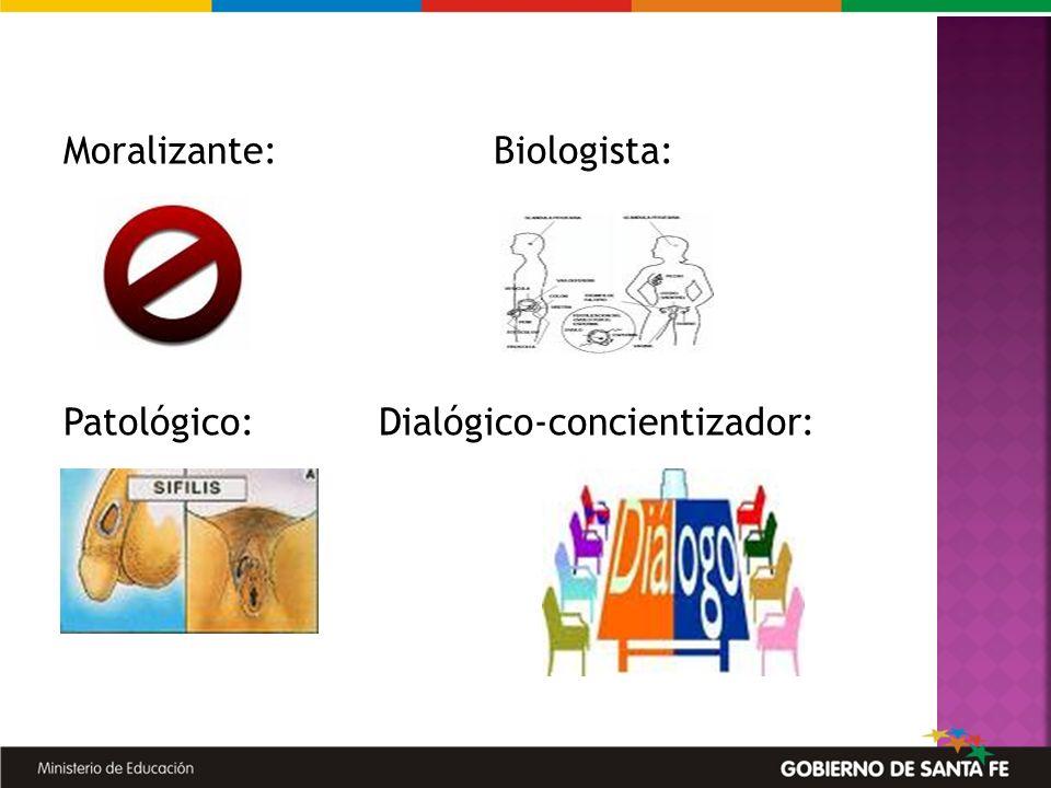 Moralizante: Biologista: Patológico:Dialógico-concientizador: