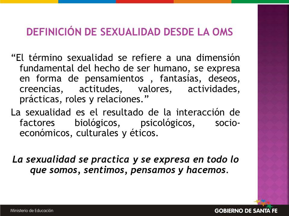 El término sexualidad se refiere a una dimensión fundamental del hecho de ser humano, se expresa en forma de pensamientos, fantasías, deseos, creencia