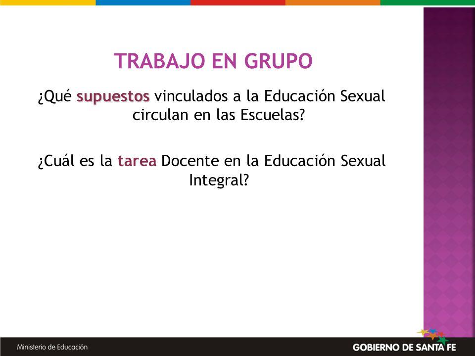 supuestos ¿Qué supuestos vinculados a la Educación Sexual circulan en las Escuelas? ¿Cuál es la tarea Docente en la Educación Sexual Integral? TRABAJO