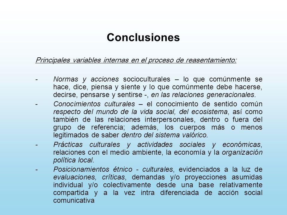 Conclusiones Principales variables internas en el proceso de reasentamiento: -Normas y acciones socioculturales – lo que comúnmente se hace, dice, pie