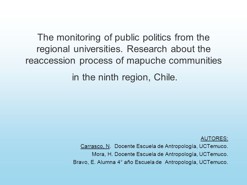 The monitoring of public politics from the regional universities.