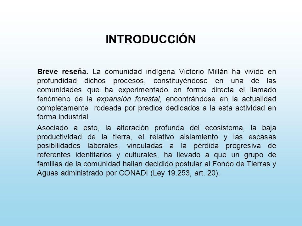 INTRODUCCIÓN Breve reseña. La comunidad indígena Victorio Millán ha vivido en profundidad dichos procesos, constituyéndose en una de las comunidades q