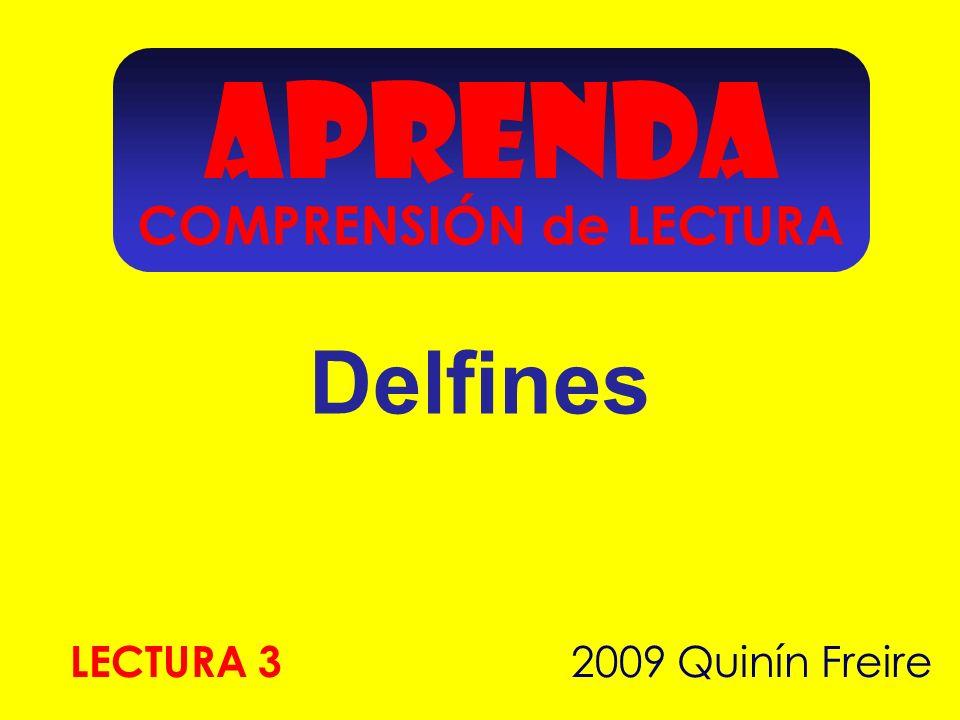 APRENDA Delfines 2009 Quinín Freire LECTURA 3 COMPRENSIÓN de LECTURA
