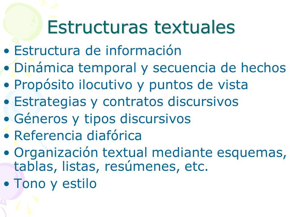 Estructuras textuales Estructura de información Dinámica temporal y secuencia de hechos Propósito ilocutivo y puntos de vista Estrategias y contratos