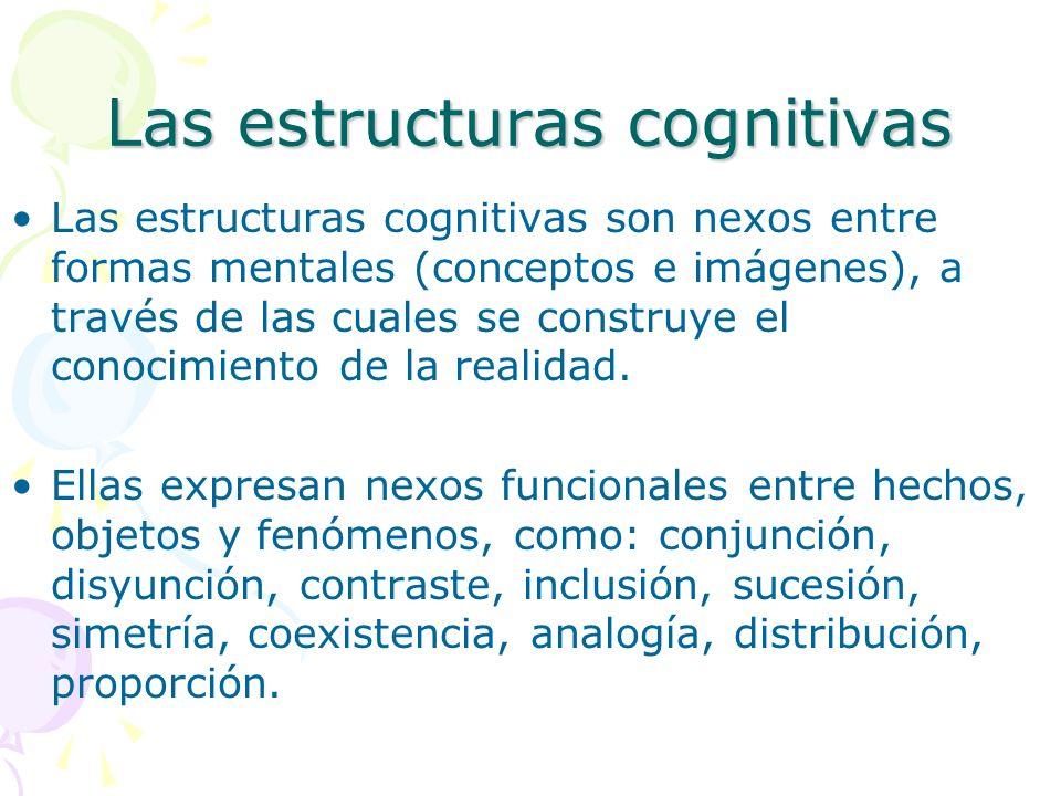 Las estructuras cognitivas Las estructuras cognitivas son nexos entre formas mentales (conceptos e imágenes), a través de las cuales se construye el c