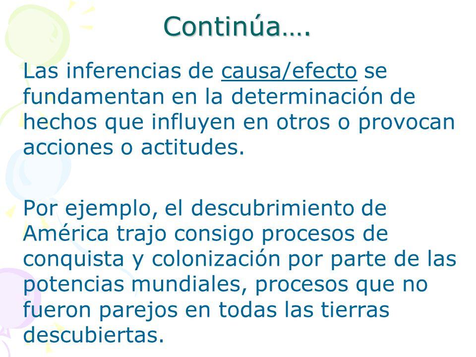 Continúa…. Las inferencias de causa/efecto se fundamentan en la determinación de hechos que influyen en otros o provocan acciones o actitudes. Por eje